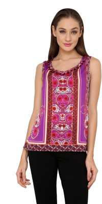 Rena Love Casual Sleeveless Printed Women's Purple Top