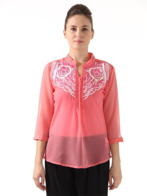 Monte Carlo Casual 3/4 Sleeve Solid Women's Pink Top