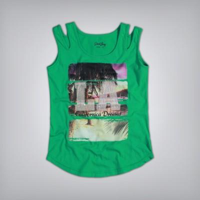 Gini and Jony Casual Sleeveless Printed Girl's Green Top