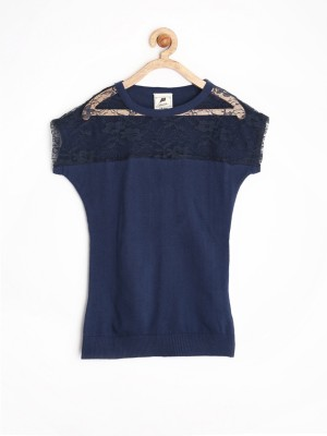 Yellow Kite Casual Short Sleeve Solid Girl's Dark Blue Top