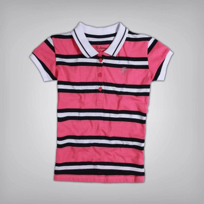Gini & Jony Casual Short Sleeve Striped Girl's Pink Top