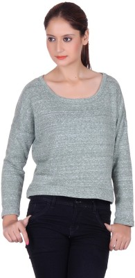 CHKOKKO Party 3/4 Sleeve Solid Women's Green Top