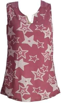 FS Party Sleeveless Printed Girl's Pink Top