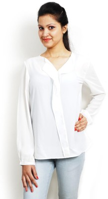 Bay & Blue Casual Full Sleeve Solid Women's White Top