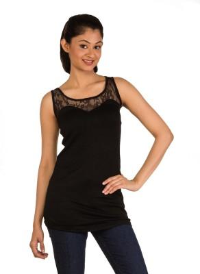 Modo Vivendi Party Sleeveless Self Design Women's Black Top
