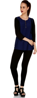 109F Casual 3/4 Sleeve Solid Women's Blue Top