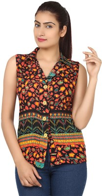 Visach Women's Printed Casual Orange Shirt