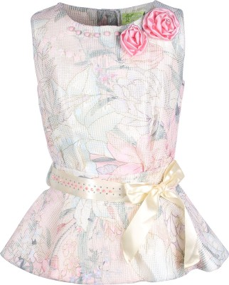 Cutecumber Party Sleeveless Floral Print Girl's Beige Top