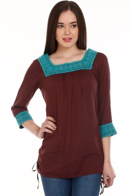Mustard Casual 3/4 Sleeve Solid Women's Brown Top