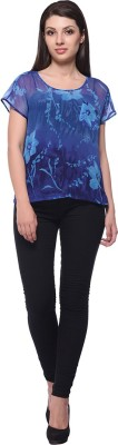 Nineteen Casual Cap sleeve Printed Women's Blue Top