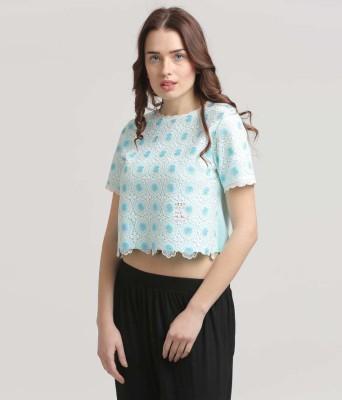 Moda Elementi Casual Short Sleeve Self Design Women's Blue Top
