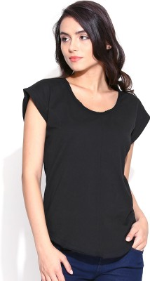 Butterfly Wears Casual Short Sleeve Solid Women's Black Top