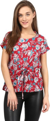 Citrine Casual Short Sleeve Floral Print Women's Red Top