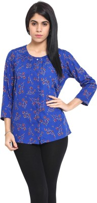 DeDe,S Casual 3/4 Sleeve Floral Print Women's Blue, Red Top