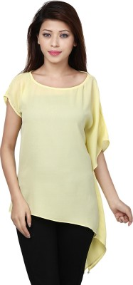 Threesome Casual Short Sleeve Solid Women's Yellow Top