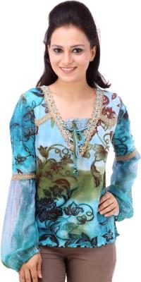 Avon Apparels Casual Full Sleeve Floral Print Women's Blue Top