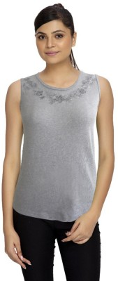 Girl Confidential Casual Sleeveless Solid Women's Grey Top