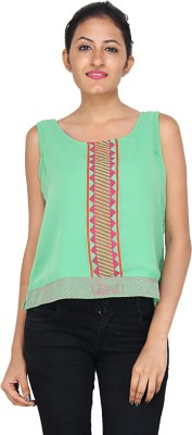 mahala Casual Sleeveless Printed Women,s Green Top