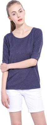 Leo Sansini Casual 3/4 Sleeve Striped Women's Dark Blue Top