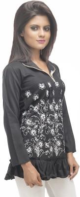 Retaaz Casual, Party, Festive 3/4 Sleeve Graphic Print Girl's Black Top
