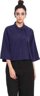 Pera Doce Casual 3/4 Sleeve Solid Women,s Blue Top