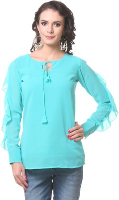 KIM KARTER Casual Full Sleeve Solid Women's Blue Top