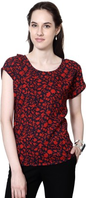 Van Heusen Casual Short Sleeve Floral Print Women's Red Top