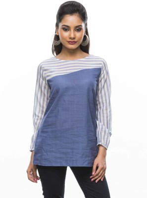 Moda Vastra Casual 3/4 Sleeve Striped, Solid Women's Blue Top