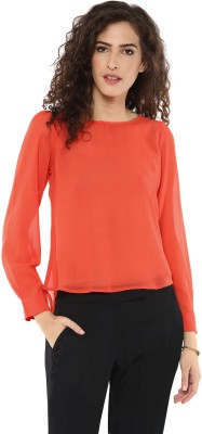 Magnetic Designs Casual Full Sleeve Solid Women's Orange Top