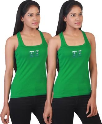 Twin Birds Casual Sleeveless Solid Women's Green Top