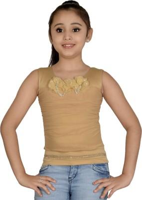 ABHIRA Casual Sleeveless Embellished Girl's Beige Top