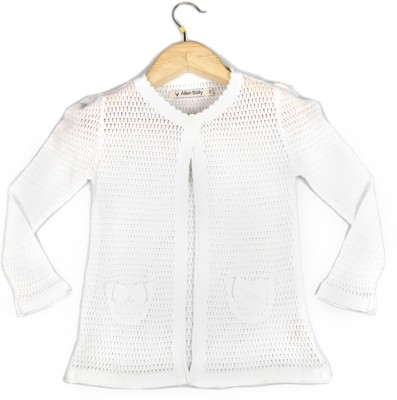 Allen Solly Casual Full Sleeve Self Design Girl's White Top at flipkart