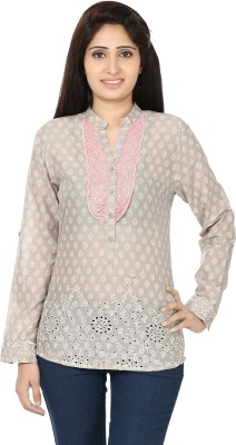 Ru-Ru Casual Full Sleeve Printed Women's Beige Top