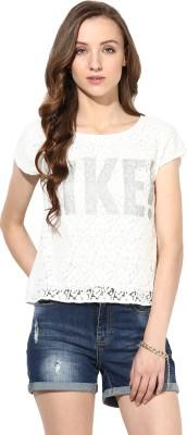 Rose Vanessa Casual Short Sleeve Self Design Women's White Top