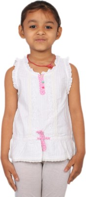 Kemrich Casual Short Sleeve Self Design Girl's Pink, White Top