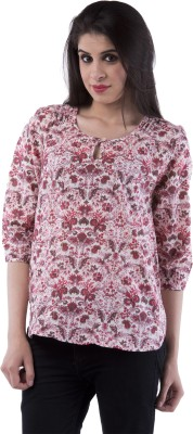 Aarr Casual 3/4 Sleeve Polka Print Women's Pink Top