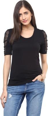 Harpa Casual Short Sleeve Solid Women's Black Top
