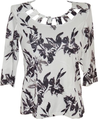 Forever 18 Casual 3/4 Sleeve Printed Women's White Top