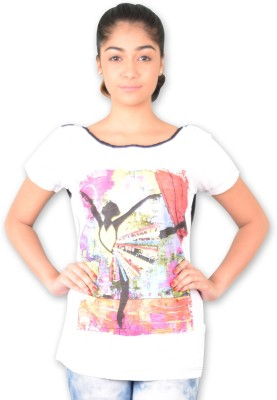 Riot Jeans Casual Short Sleeve Printed Women's White Top