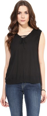 SbuyS Casual Short Sleeve Solid Women's Black Top