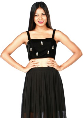 RovingMode Casual Sleeveless Solid Women's Black Top