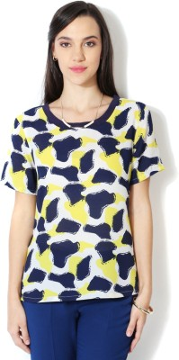 Van Heusen Casual Short Sleeve Printed Women's Dark Blue Top