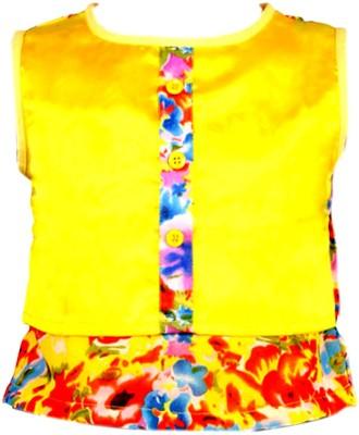 Toddla Casual Sleeveless Printed Girl's Yellow Top
