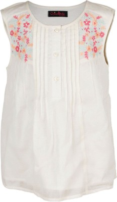 Chicabelle Casual Sleeveless Embroidered Girl's White Top