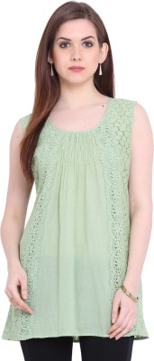 Global Colours Casual Sleeveless Embroidered Women's Green Top