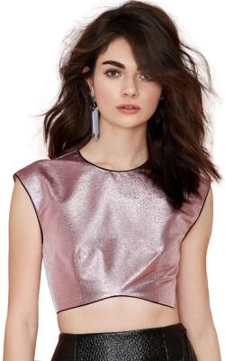 Fromycloset Party Cap sleeve Solid Women's Pink Top