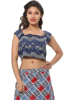Abony Casual Sleeveless Printed Women's Dark Blue Top