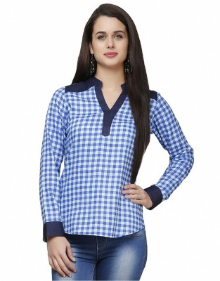 Eavan Casual Full Sleeve Checkered Women Blue Top at flipkart