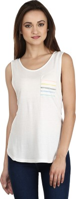 Ruse Casual Sleeveless Solid Women's White Top