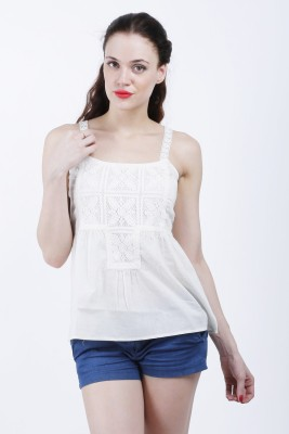 Hlsangam Party Sleeveless Solid Women's White Top